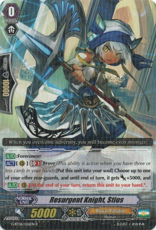 G-BT06/026EN Resurgent Knight, Stius Rare (R)