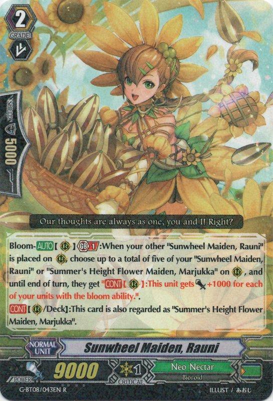 G-BT08/043EN Sunwheel Maiden, Rauni Rare (R)