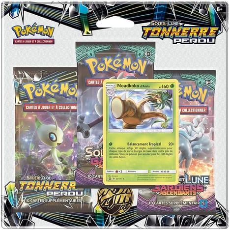 Pack 3 Boosters Pokémon Soleil et Lune 8 - Version Noadkoko d'Alola